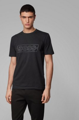 Stretch-cotton T-shirt with reflective logo, Black