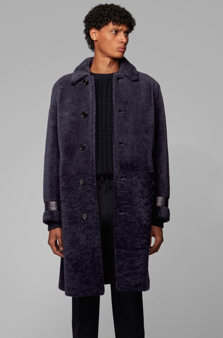 Relaxed-fit shearling coat with leather trims, Dark Blue