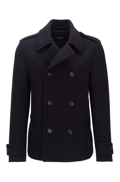 Pea coat in virgin wool and cashmere, Dark Blue