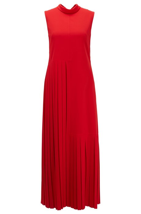 Partially pleated maxi dress in crinkle crepe with tie neck, Red