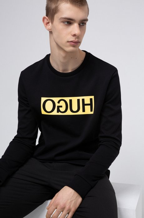 Regular-fit sweatshirt with reversed-logo print, Black