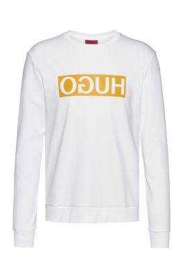 Regular-fit sweatshirt with reversed-logo print, White