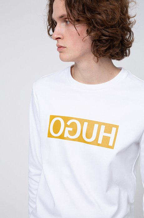 Regular-fit sweatshirt with reversed-logo print, White