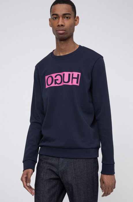 Regular-fit sweatshirt with reversed-logo print, Dark Blue