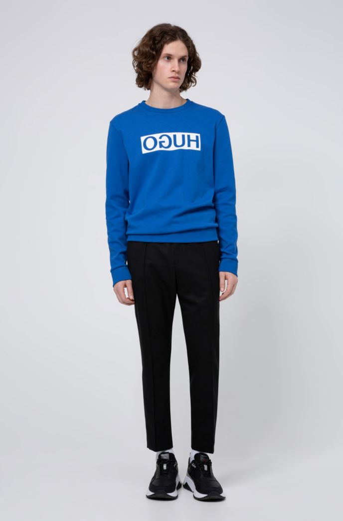 Regular-fit sweatshirt with reversed-logo print