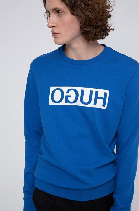 Regular-fit sweatshirt with reversed-logo print, Blue