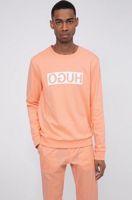 Regular-fit sweatshirt with reversed-logo print, Light Orange