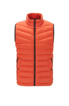 Down-filled gilet with water-repellent outer, Dark Orange