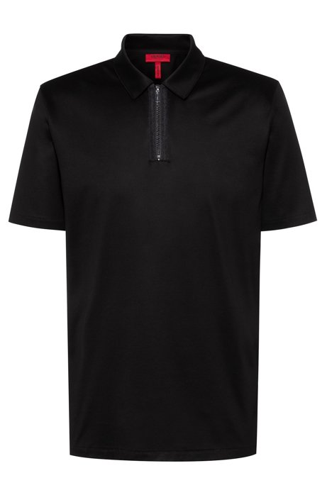 Slim-fit polo shirt with zip neck, Black