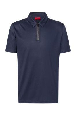 Slim-fit polo shirt with zip neck, Dark Blue