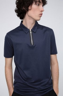 Slim-fit polo shirt with zip neck, Dark Blue