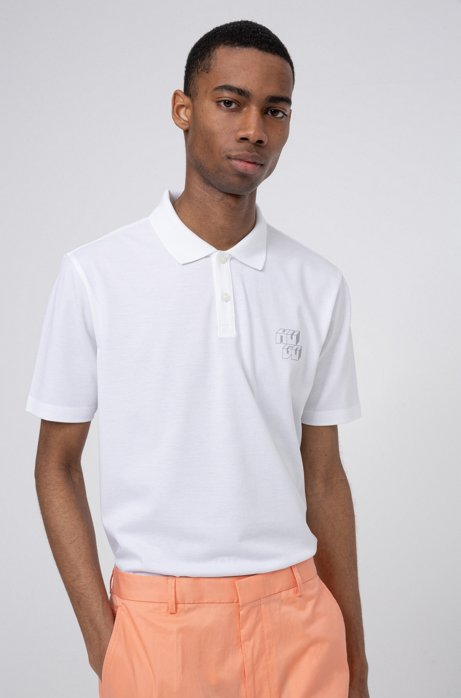 Piqué-cotton polo shirt with reflective cubistic logo, White