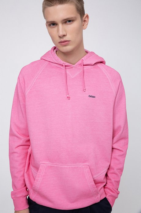 Garment-dyed hoodie in Recot2® French terry, Pink