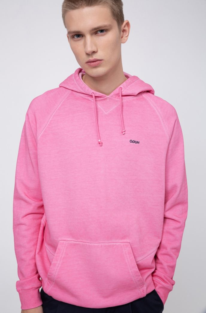Garment-dyed hoodie in Recot2® French terry