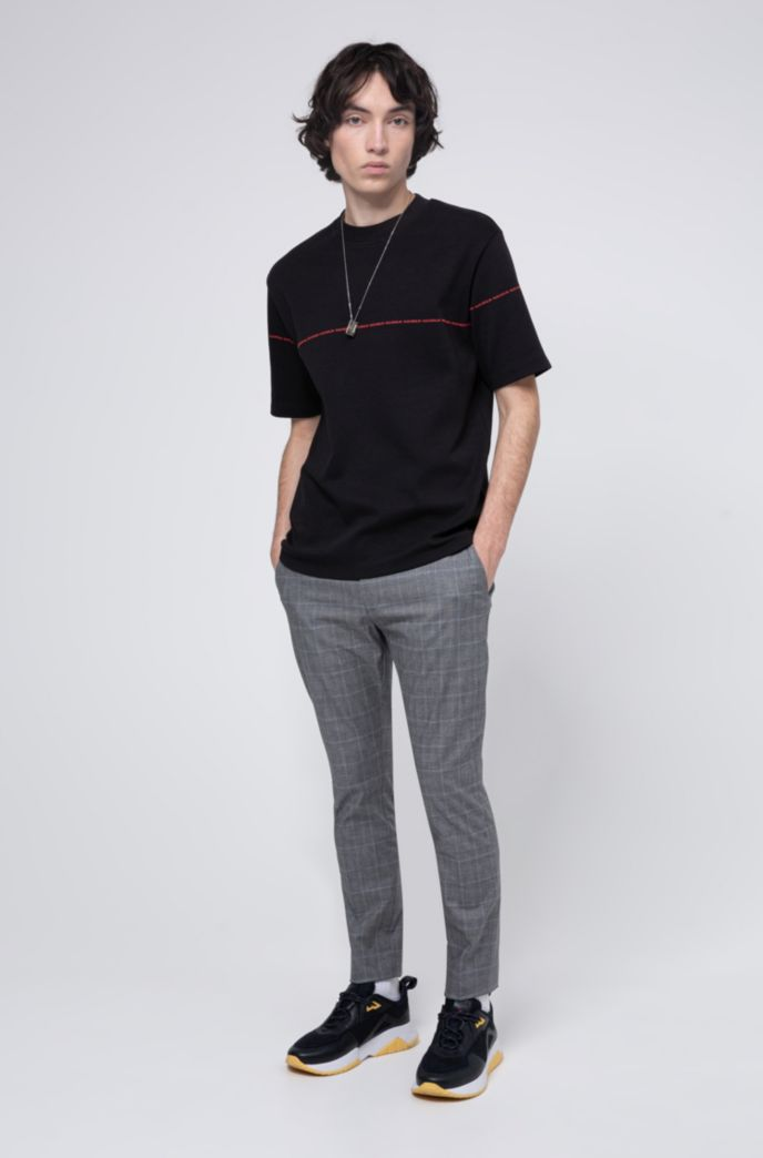 Relaxed-fit T-shirt in interlock cotton with collection stripe