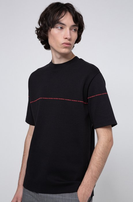 Relaxed-fit T-shirt in interlock cotton with collection stripe, Black