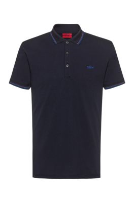 Slim-fit polo shirt with tipping stripes, Dark Blue