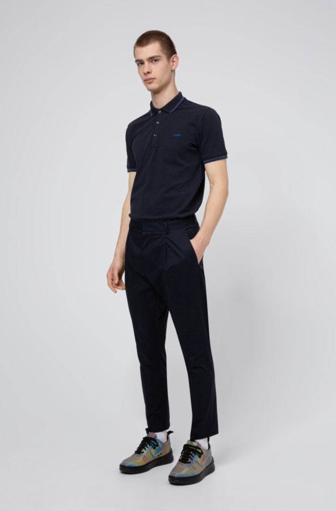 Slim-fit polo shirt with tipping stripes
