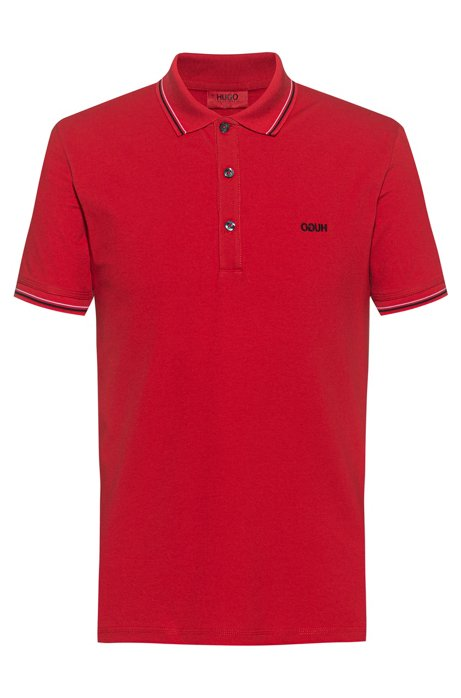Slim-fit polo shirt with tipping stripes, Open Pink