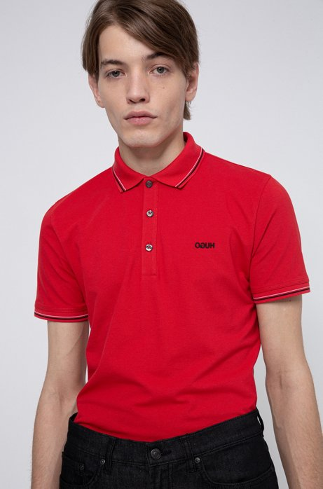 Slim-fit polo shirt with tipping stripes, light pink