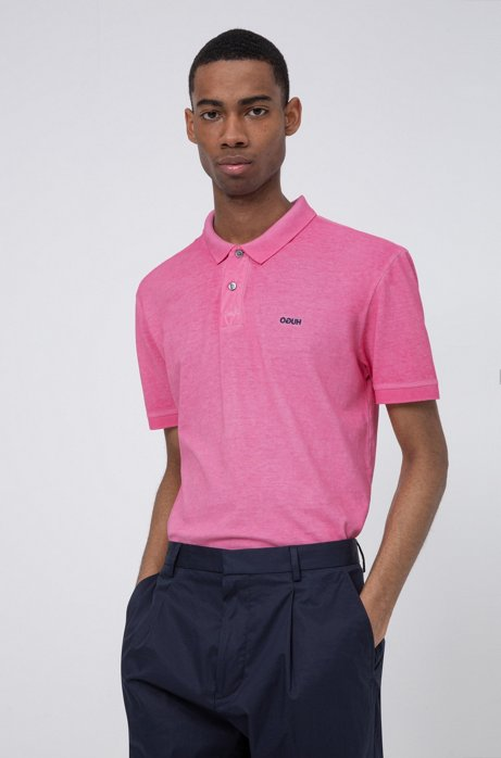 Garment-dyed polo shirt in Recot2® cotton, Pink