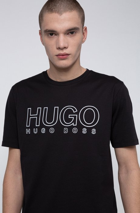 Crew-neck T-shirt in pure cotton with reflective logo, Black