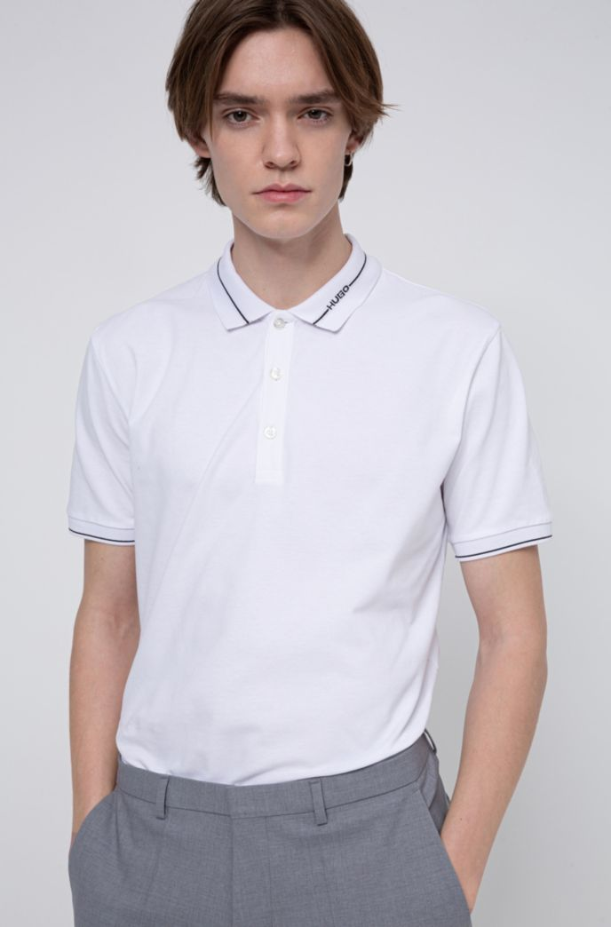 Slim-fit polo shirt in stretch-cotton piqué