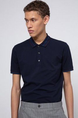 Slim-fit polo shirt in stretch-cotton piqué, Dark Blue