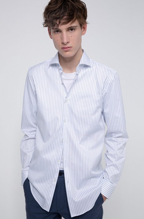 Slim-fit shirt in striped cotton with spread collar, Light Blue