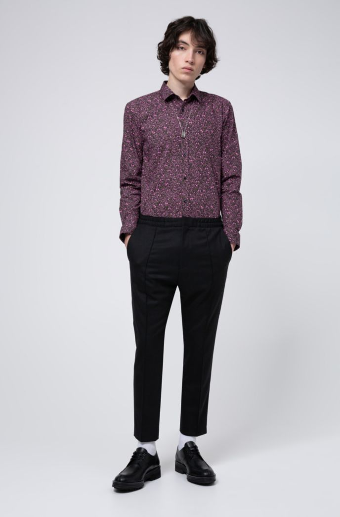 Extra-slim-fit cotton shirt with floral print