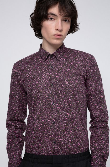 Extra-slim-fit cotton shirt with floral print, Khaki