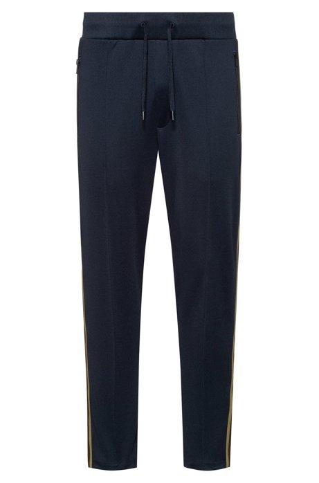 Regular-fit jogging pants with side stripes, Dark Blue