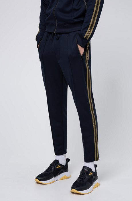 Regular-fit jogging pants with side stripes, Dark Blue