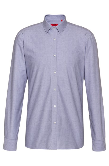 Extra-slim-fit dobby-patterned shirt in Oxford cotton, Dark Blue