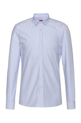 Extra-slim-fit dobby-patterned shirt in Oxford cotton, Light Blue
