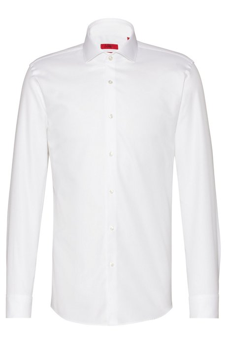 Slim-fit shirt in two-ply cotton, Open White