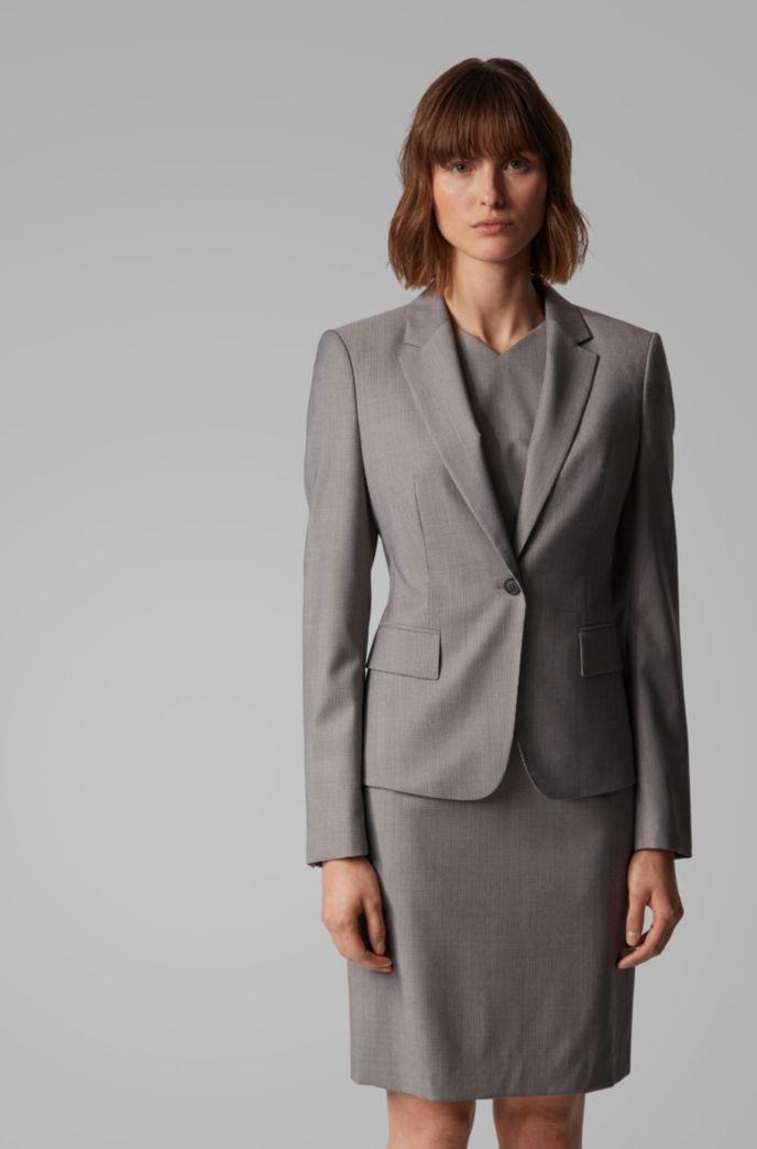 Regular-fit jacket in patterned virgin wool
