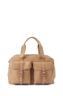 Calf-leather holdall with twin front pockets, Light Beige