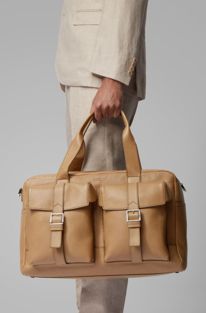 Calf-leather holdall with twin front pockets