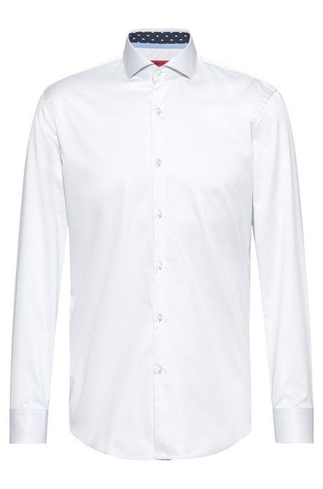 Slim-fit shirt in cotton twill with contrast inner, Open White