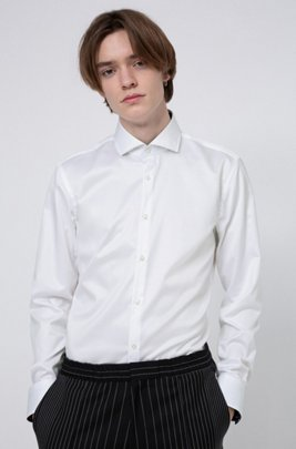 Slim-fit shirt in cotton twill with contrast inner, White