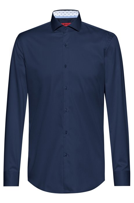 Slim-fit shirt in cotton twill with contrast inner, Dark Blue