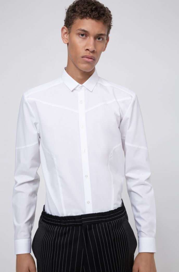 Extra-slim-fit cotton shirt with easy-iron finishing