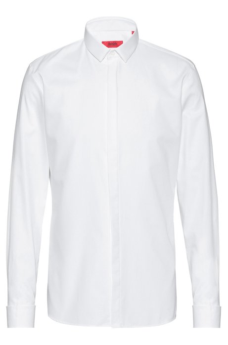 Extra-slim-fit cotton shirt with double cuffs, Open White
