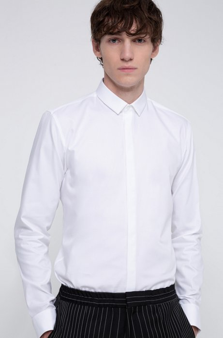 Extra-slim-fit cotton shirt with double cuffs, White