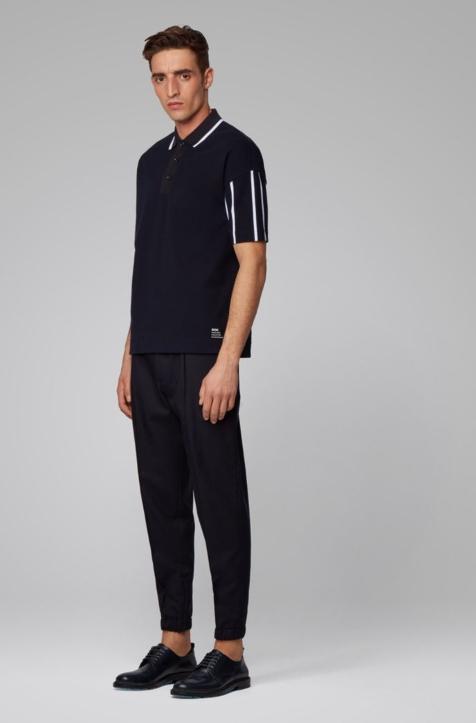 Stretch-cotton polo shirt with striped sleeves