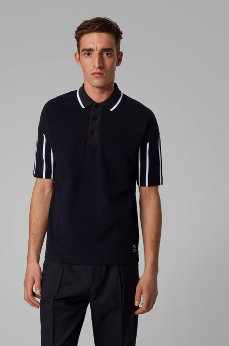 Stretch-cotton polo shirt with striped sleeves, Dark Blue
