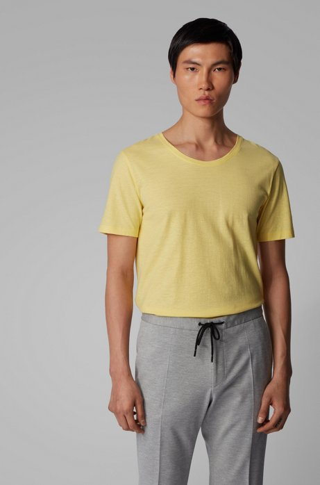 Italian-cotton T-shirt with wide neckline, Yellow