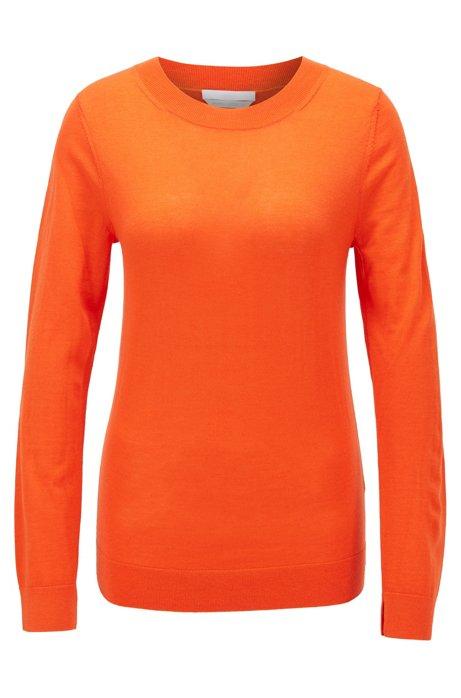 Regular-fit sweater in merino wool with crew neckline, Orange