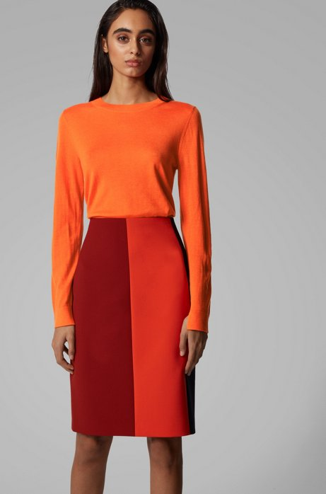 Regular-fit sweater in merino wool with crew neckline, Orange